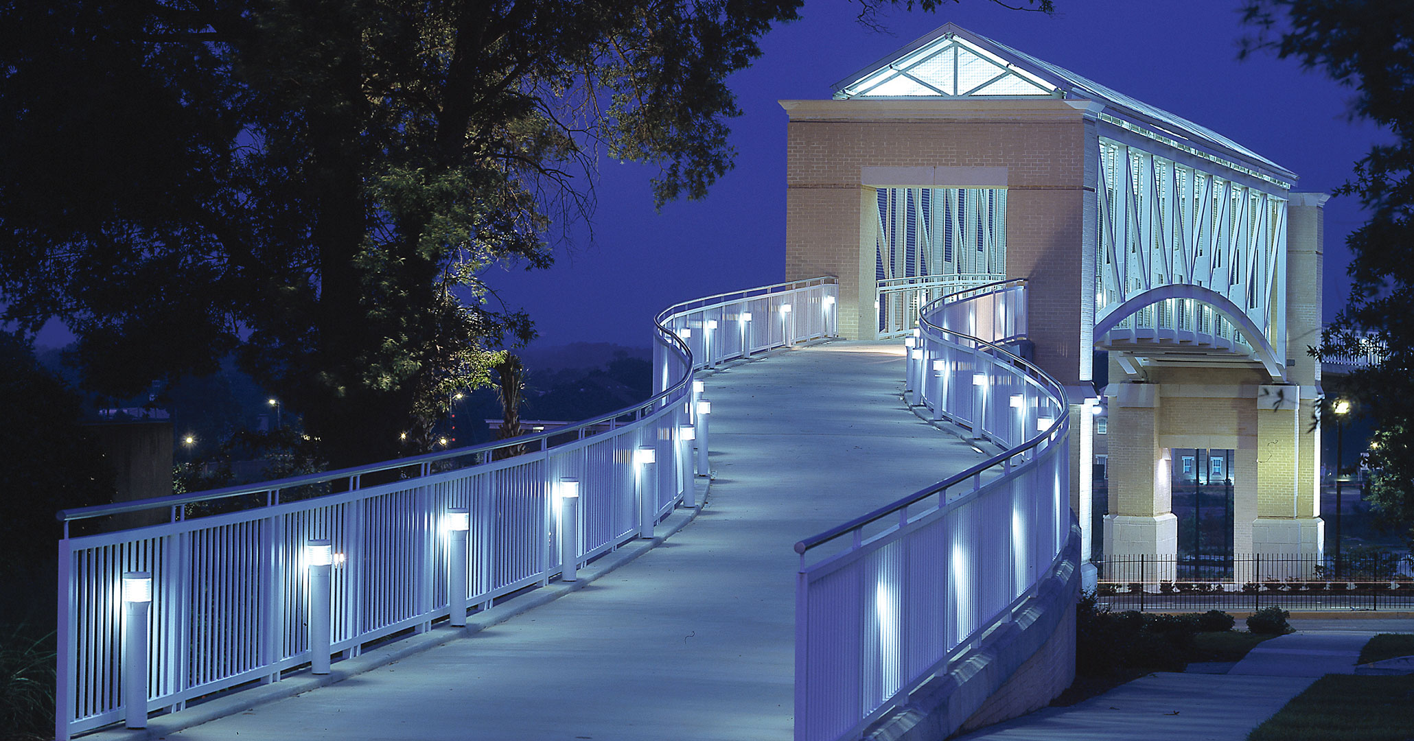 UofSC worked with Boudreaux architects to build the pedestrian student bridge in downtown Columbia, SC.